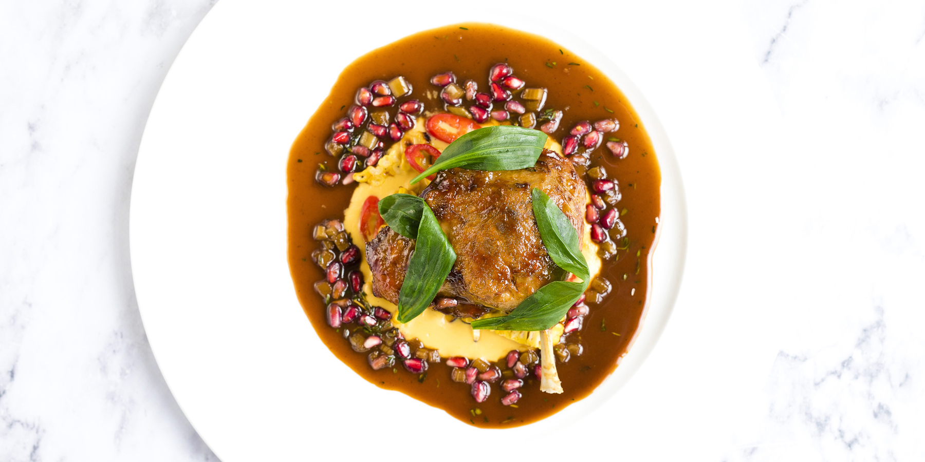Duck leg with pickled rhubarb recipe